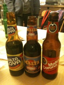 The 3 varieties of Malta on offer at our friend Logan's house.