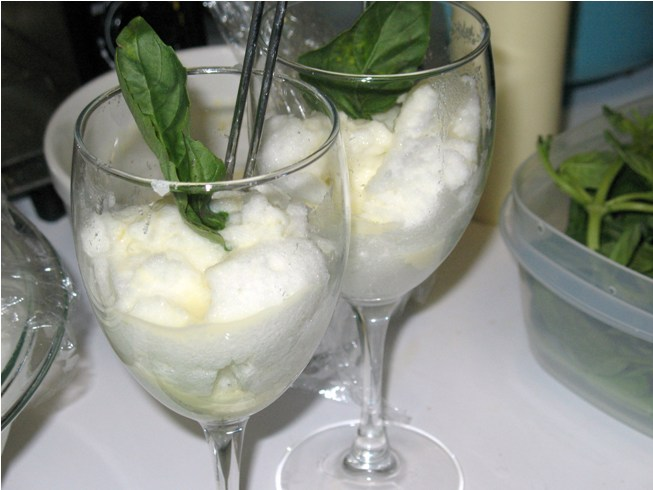 Lemon Snow Pudding With Basil Custard Sauce Recipes — Dishmaps
